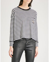 The Kooples Embroidered striped long-sleeved cotton-jersey top