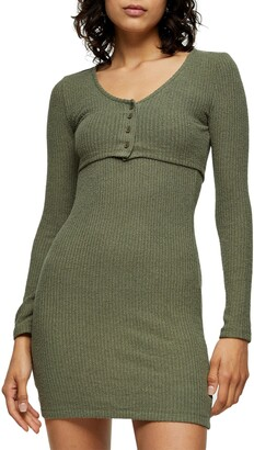 Ribbed Long Sleeve Cardigan Minidress