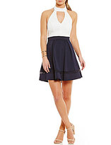 B. Darlin Choker Neck Color Block Fit-And-Flare Dress