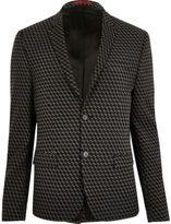 River Island MensBlack geometric print jacquard suit jacket