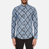 MSGM Men's Multi Logo Print Long Sleeve Shirt Blue