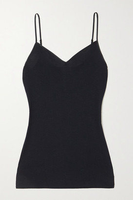 Hanro Satin-trimmed Mercerized Cotton Camisole - Black