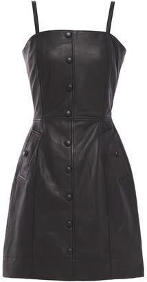 Walter Baker Button-embellished Leather Mini Dress
