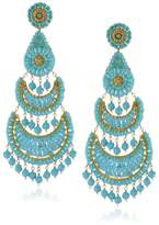 Miguel Ases Turquoise-Color Fan Drop Earrings