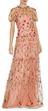 ML Monique Lhuillier Floral Embroidered Gown