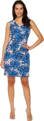 Ellen Tracy Women's Crepe Jersey Lotus Print Dress