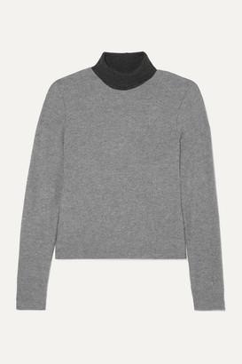 Leset Lori Two-tone Brushed Stretch-knit Turtleneck Sweater - Gray