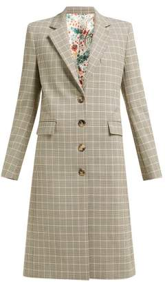 Paco Rabanne Checked Single-breasted Wool-blend Coat - Womens - Brown Multi