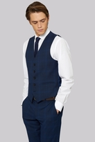 Moss Bros Skinny Fit Bright Blue Check Waistcoat