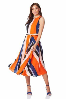 Roman Originals Womens Pleated Stripe Fit and Flare Dress - Ladies Sleeveless Everyday Casual Work Office Wedding Guest Comfortable Round Neck Knee Length Midi Jersey Dresses - Orange - Size 10