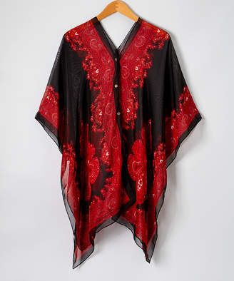 Lvs Collections LVS Collections Women's Kimono Cardigans BLACK+RED - Black & Red Scarf-Print Button-Front Poncho - Women