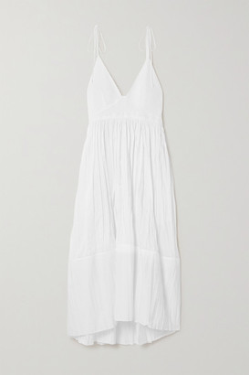 Jil Sander Pleated Voile Midi Dress - White