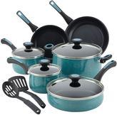 Paula Deen Riverbend 12-Piece Gulf Blue Speckle Cookware Set with Lids