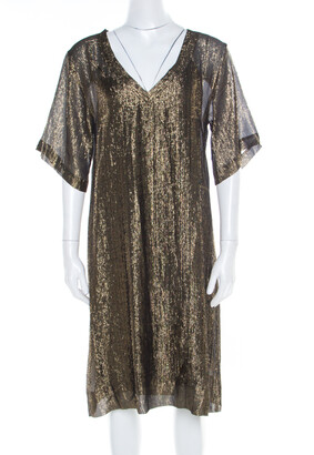 Isabel Marant Black and Gold Lurex Striped Sheer Tunic M