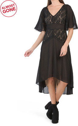 Flutter Sleeve Lace Mesh Dress