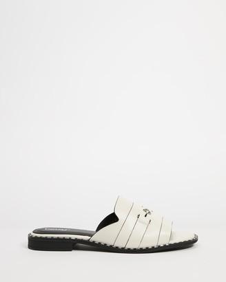 Betsy - Women's White Flat Sandals - Horsebit Slides - Size 36 at The Iconic