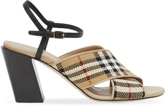 Burberry Check-Pattern 70mm Block-Heel Sandals