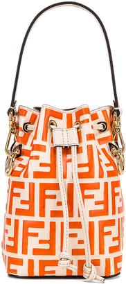 Fendi Mini Logo Mon Tresor in Cream & Orange | FWRD