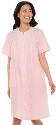 Miss Elaine Women's Essentials Seersucker Short Snap Robe