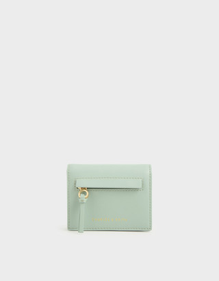 Charles & Keith Snake Print Front Zip Card Holder