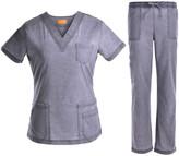 Jeanish Women's Scrubs Bottoms Pewter - Pewter Stretchy Pocket Scrub Top & Drawstring Scrub Pants - Women