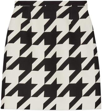 Gucci Houndstooth print wool silk mini skirt