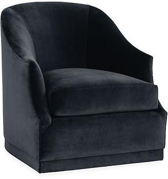 One Kings Lane Bridget Swivel Club Chair - Navy Velvet