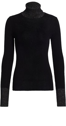 Saks Fifth Avenue Block Shine Ribbed Turtleneck Long-Sleeve Top