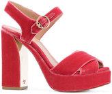 Tory Burch platform heel sandals - women - Leather/Velvet - 6.5