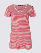 M&S Collection Pure Cotton Striped Lightweight T-Shirt
