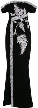 Saiid Kobeisy Floral Embroidered Maxi Dress