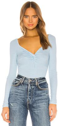Enza Costa X REVOLVE Silk Rib Front Knot Long Sleeve Bodysuit