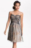 Adrianna Papell Strapless Glitter Tulle Dress