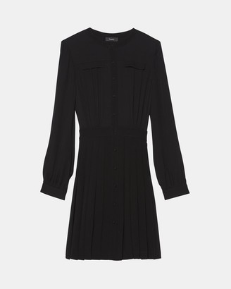 Theory Pleated Button-Front Dress in Crepe