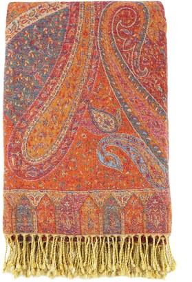 Melange Home Marrakesh Paisley Wool Jacquard Throw - Burnt Orange