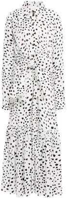 Carolina Herrera Tie-front Printed Crepe Maxi Shirt Dress