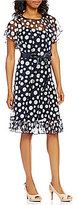 Jessica Howard Belted Chiffon Polka-Dot Dress