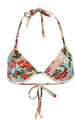 Agua de Coco Floral-Print Triangle Bikini Top