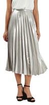 Topshop Women's Metallic Pleat Midi Skirt