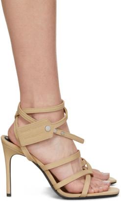 Off-White Beige Satin Zip Tie Sandals
