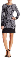 Nicole Miller Long Sleeve Embroidered Dress