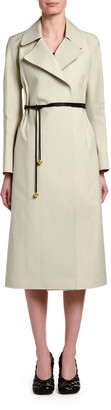 Bottega Veneta Cotton Cinched-Waist Trench Coat