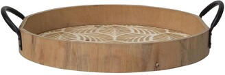 Stratton Home Wooden Leaf Print Tray