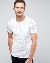 Selected T-Shirt in Print with Contrast Pocket
