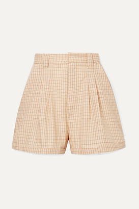 PARADISED Jamie Checked Cotton-voile Shorts - Peach
