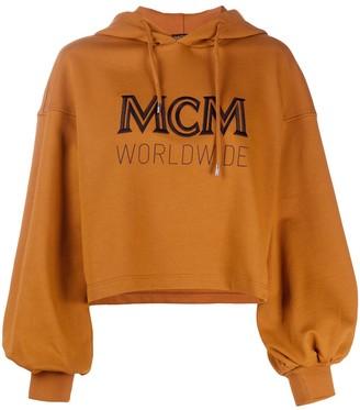 MCM Cropped Logo Drawstring Hoodie