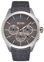 HUGO BOSS Men's Onyx Chronograph Croc Embossed Leather Watch, 44mm