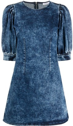 P.A.R.O.S.H. Denim Mini Dress With Puff Sleeves