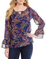 I.N. Studio Keyhole Neck Paisley Print Long Sleeve Peasant Top