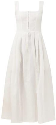 Gioia Bini Chiara Pleated Cotton-blend Midi Dress - White
